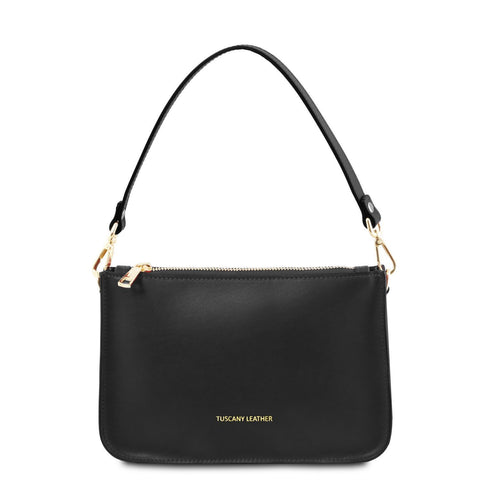 Tuscany Leather TL 'Cassandra' Leather Clutch Handbag TL141870 Handbag Tuscany Leather Black