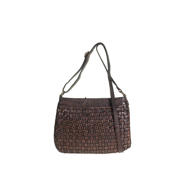 Tuscans Shoulder Bag In Genuine Handwoven Leather Ladies Shoulder Bag Tuscans Dark Brown