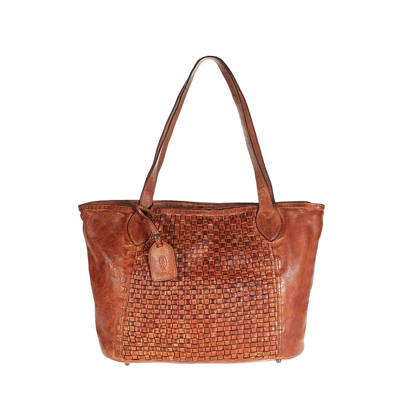 Tuscans Vintage Shopping Bag In Genuine Handwoven Leather Ladies Shoulder Bag Tuscans Brown