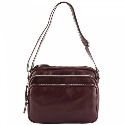 Made In Tuscany 'Assunta' Leather Cross-Body Bag Crossbody Bag Made in Tuscany Bordeaux