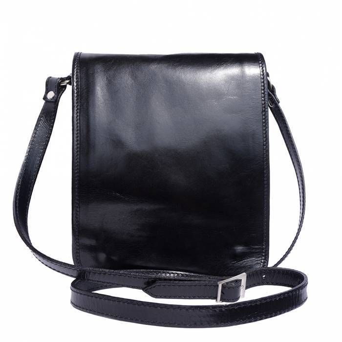 Made In Tuscany 'Mirko' Leather Messenger Shoulder Bag Messenger Bag Made in Tuscany Black