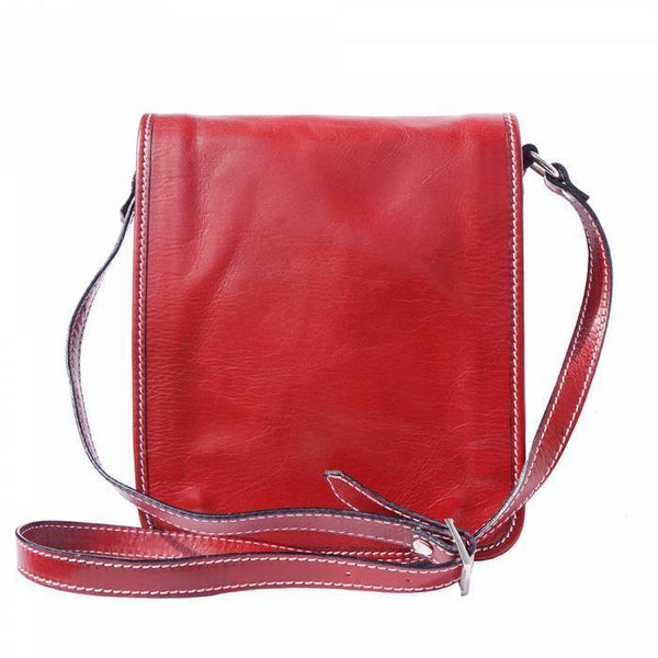 Made In Tuscany 'Mirko' Leather Messenger Shoulder Bag Messenger Bag Made in Tuscany Light Red