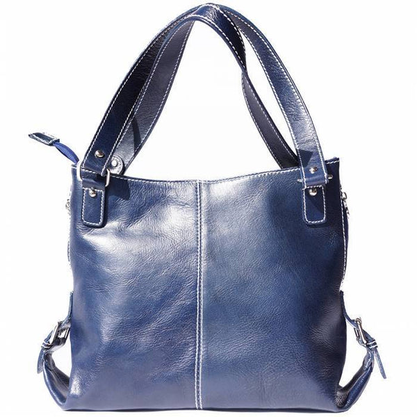 Made In Tuscany 'Shopping Bag' With Double Handle Made Of Genuine Calf Leather Handbag Made in Tuscany Dark Blue