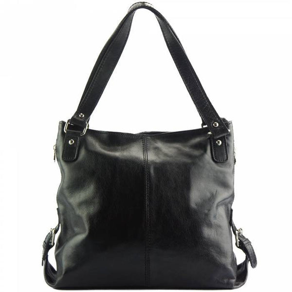 Made In Tuscany 'Shopping Bag' With Double Handle Made Of Genuine Calf Leather Handbag Made in Tuscany Black