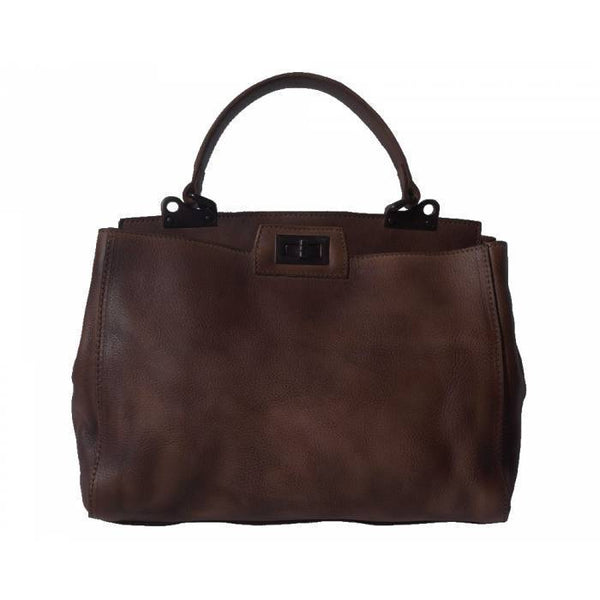 Made In Tuscany 'Peekaboo' Leather-Handbag Handbag Made in Tuscany Dark Brown