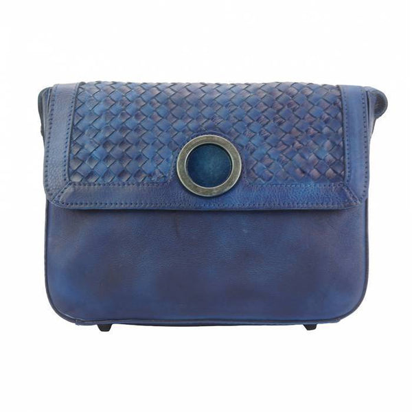 Made In Tuscany 'Shoulder Flap Bag Luna' By Vintage Leather Ladies Shoulder Bag Made in Tuscany Dark Blue
