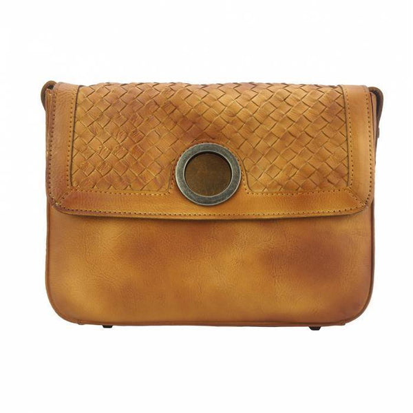 Made In Tuscany 'Shoulder Flap Bag Luna' By Vintage Leather Ladies Shoulder Bag Made in Tuscany Tan