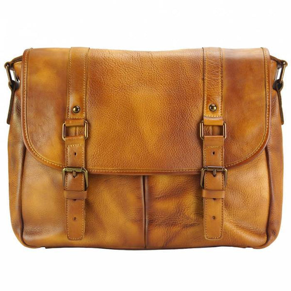 Made In Tuscany 'Mattia' Leather Messenger Shoulder Bag Messenger Bag Made in Tuscany Tan