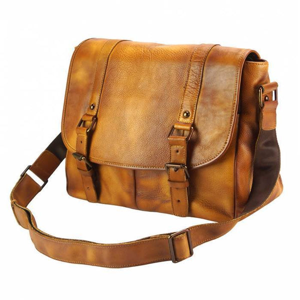 Made In Tuscany 'Mattia' Leather Messenger Shoulder Bag Messenger Bag Made in Tuscany
