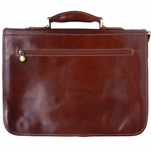 Made In Tuscany Leather Briefcase With Two Compartments Laptop Briefcase Tuscany Leather