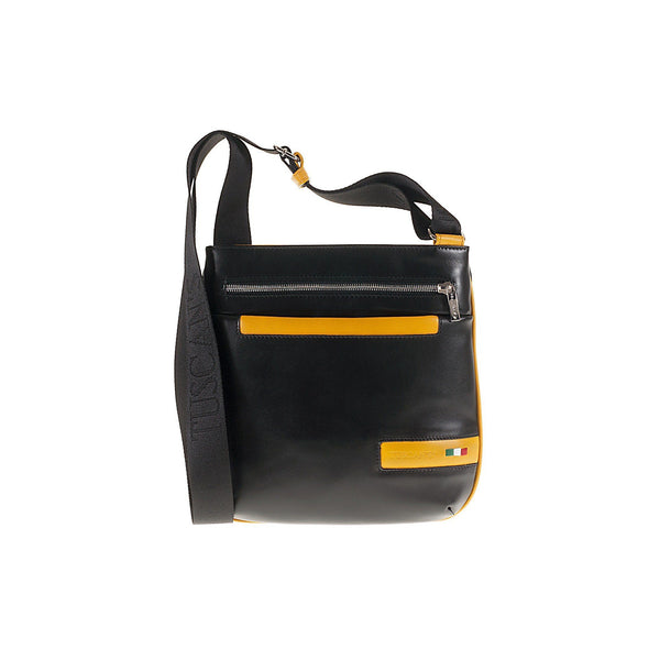 Tuscans 'Denebola' Men's Leather Messenger Bag Messenger Bag Tuscans Black/Yellow