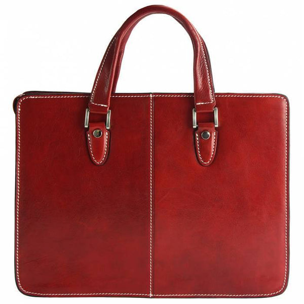 "Made In Tuscany ""Rolando"" Leather Cross-Body Shoulder Bag Crossbody Bag Made in Tuscany Light Red"