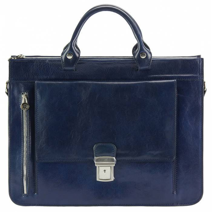 Made In Tuscany 'Donato' Leather Briefcase Laptop Briefcase Made in Tuscany Dark Blue