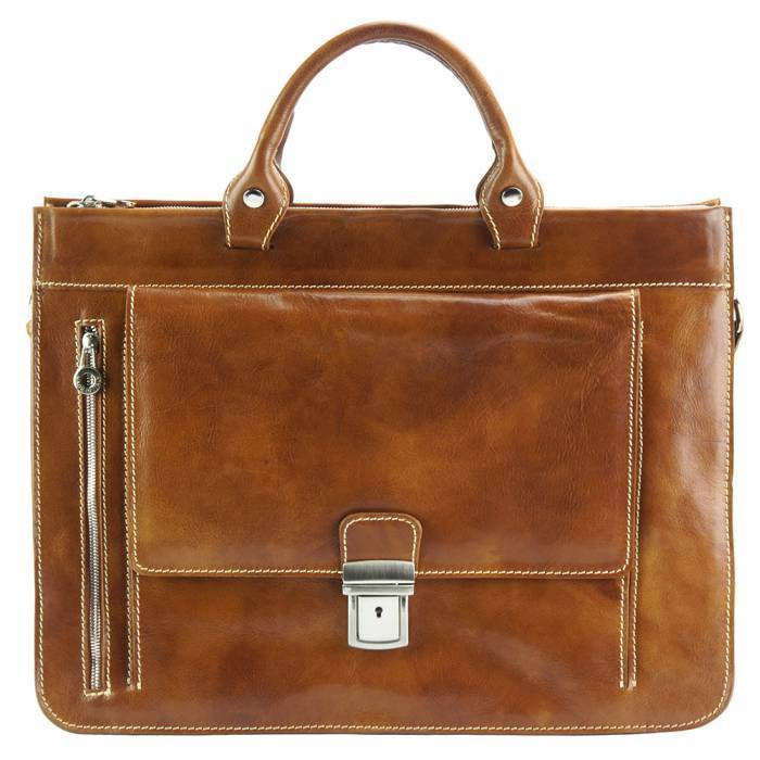 Made In Tuscany 'Donato' Leather Briefcase Laptop Briefcase Made in Tuscany Tan