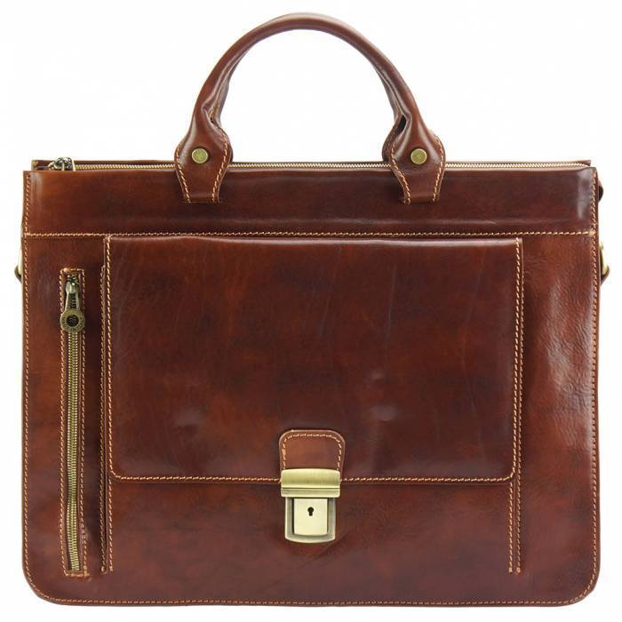 Made In Tuscany 'Donato' Leather Briefcase Laptop Briefcase Made in Tuscany Brown