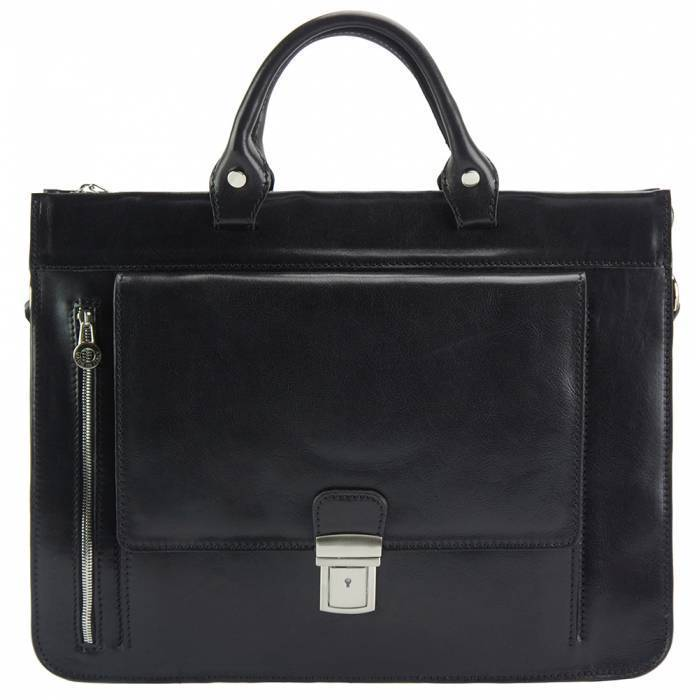 Made In Tuscany 'Donato' Leather Briefcase Laptop Briefcase Made in Tuscany Black