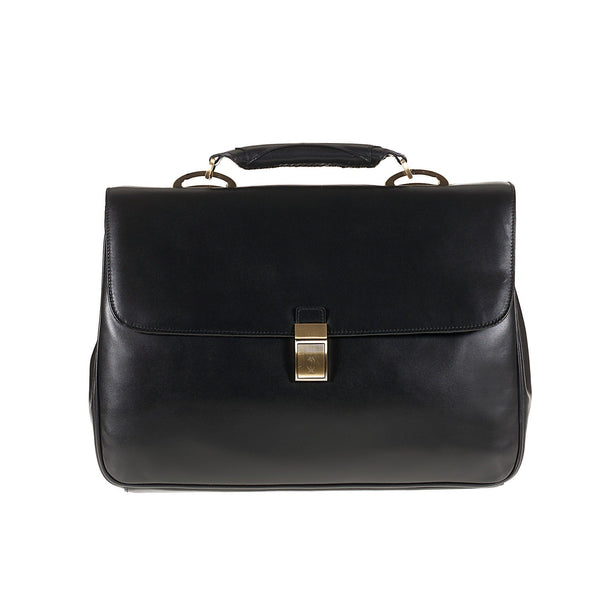 Tuscans 'Euro' Men's Leather Briefcase Briefcase Tuscans Black