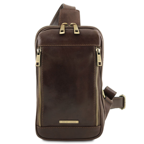 Tuscany Leather TL 'Martin' Men's Leather Crossover Bag (TL141536) Crossbody Bag Tuscany Leather Dark Brown