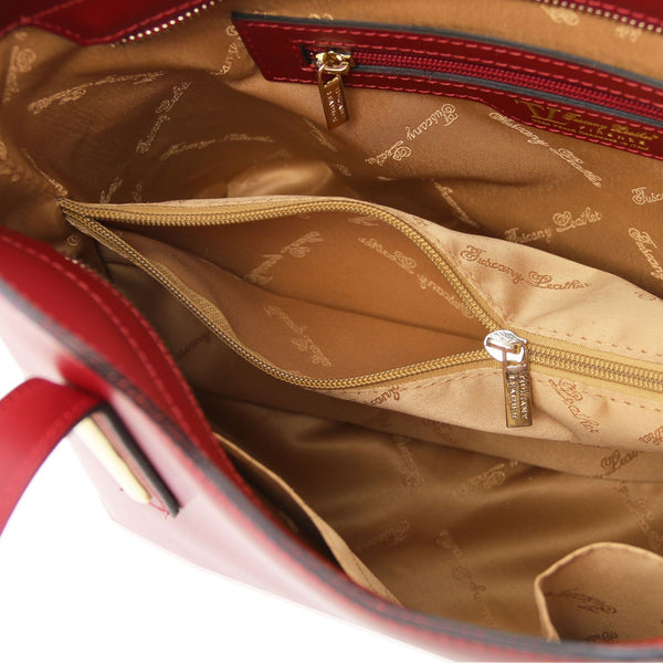 Tuscany Leather Olimpia Leather Shopping Tote Bag - Made in Tuscany