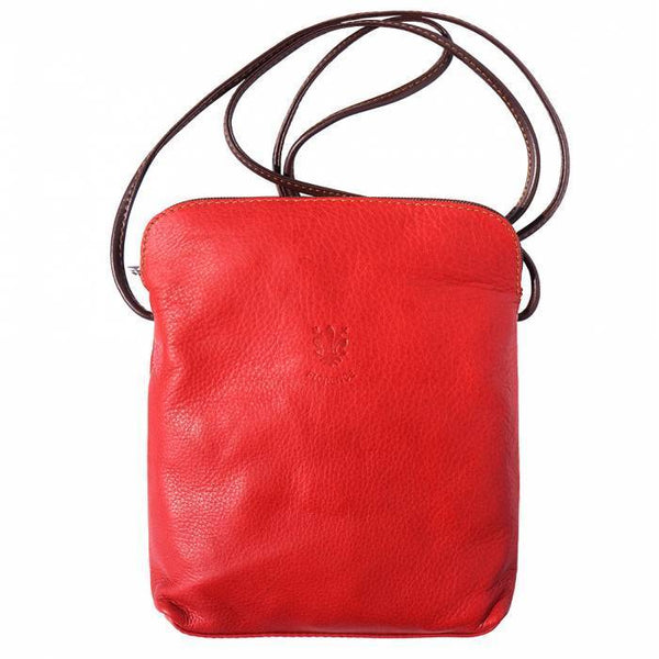 "Made In Tuscany ""Mia Gm"" Leather Cross-Body Shoulder Bag Crossbody Bag Made in Tuscany Red/Brown"
