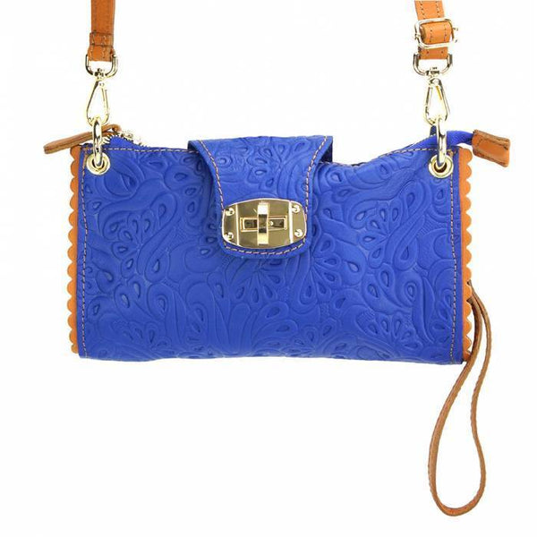 Made In Tuscany Be Exclusive Leather Crossbody Clutch Crossbody Bag Made in Tuscany Electric Blue/Tan