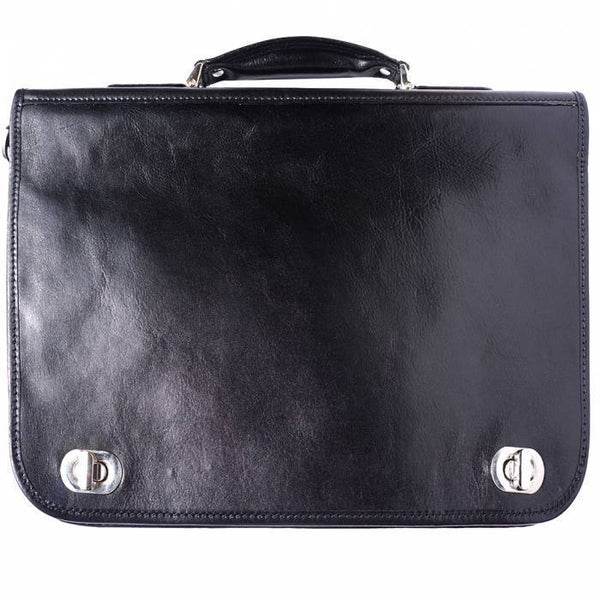 Made In Tuscany Leather Briefcase With Two Compartments Laptop Briefcase Tuscany Leather Black