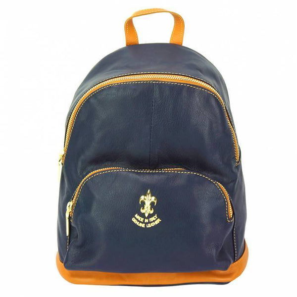 Made In Tuscany 'Carola' Leather Backpack Backpack Made in Tuscany Dark Blue/Tan