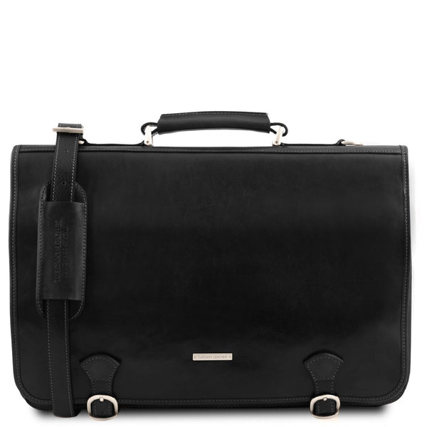 Tuscany Leather TL 'Ancona' Leather Briefcase (TL141853) Briefcase Tuscany Leather Black