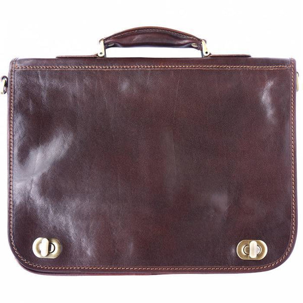 Made In Tuscany Leather Briefcase With Two Compartments Laptop Briefcase Tuscany Leather Dark Brown