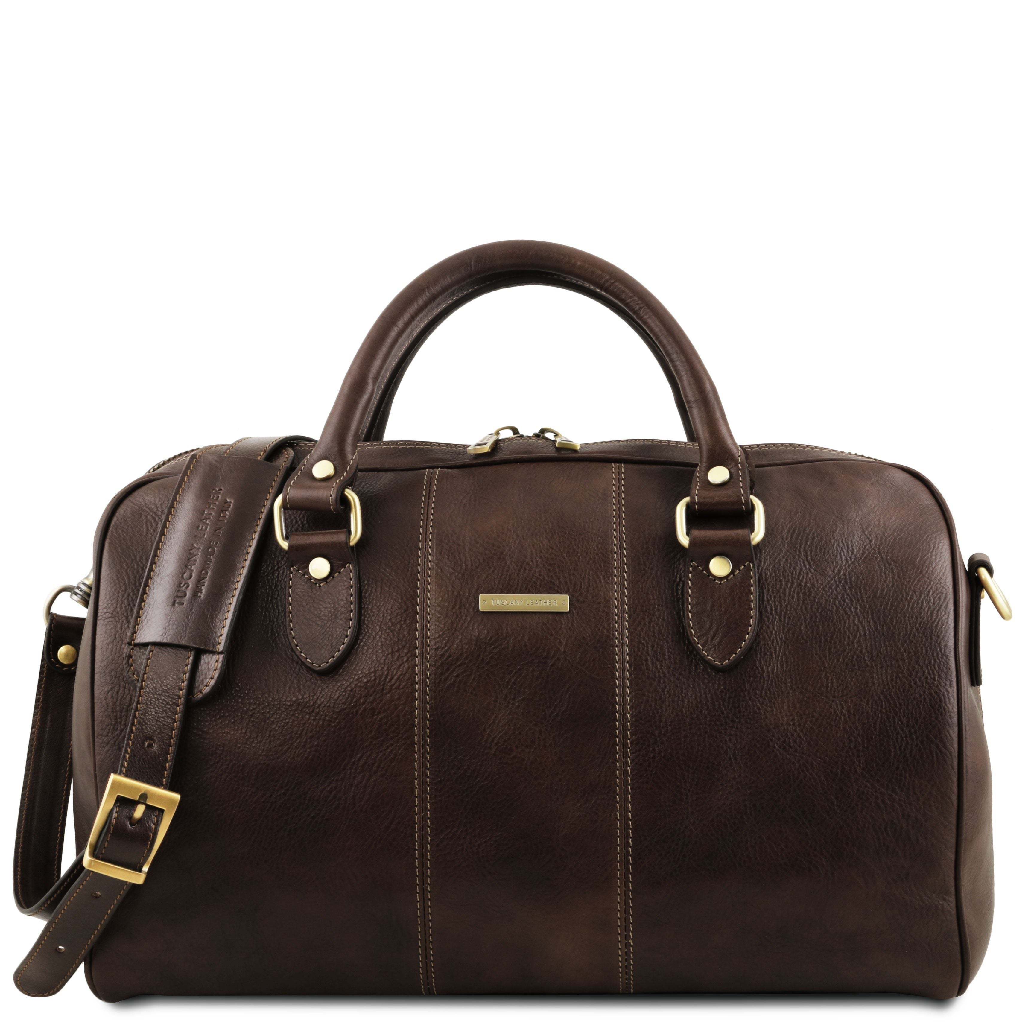 Tuscany Leather Traveller 'Lisbona ' Leather Cabin Duffle Bag (55Cm) - Large Duffle Bag Tuscany Leather Dark Brown