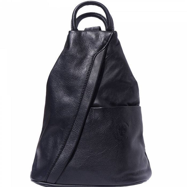 'Vanna' Contrast Colour Italian Leather Backpack Backpack Made in Tuscany Black
