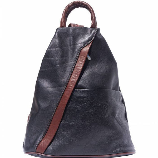 'Vanna' Contrast Colour Italian Leather Backpack Backpack Made in Tuscany Black/Brown