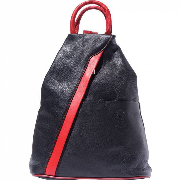 'Vanna' Contrast Colour Italian Leather Backpack Backpack Made in Tuscany Black/Red