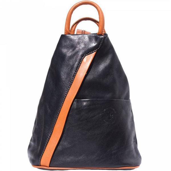 'Vanna' Contrast Colour Italian Leather Backpack Backpack Made in Tuscany Black/Tan