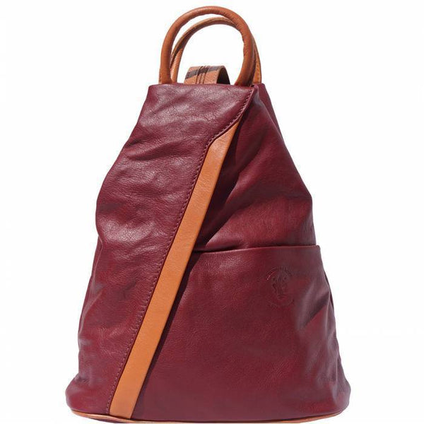 'Vanna' Contrast Colour Italian Leather Backpack Backpack Made in Tuscany Bordeaux/Tan