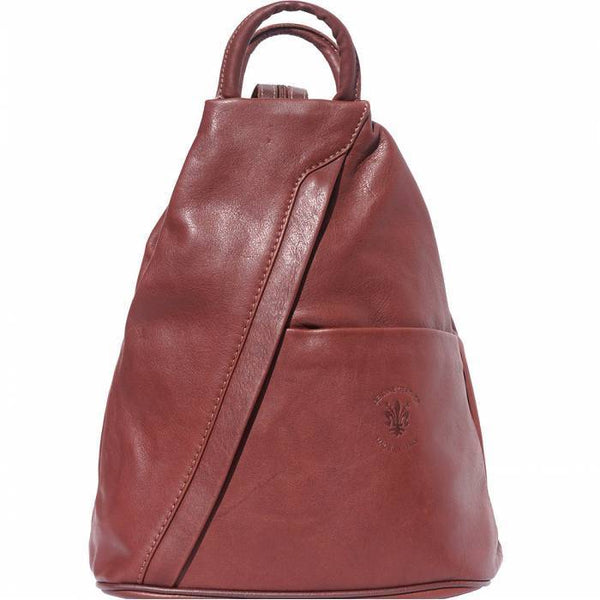 'Vanna' Contrast Colour Italian Leather Backpack Backpack Made in Tuscany Brown