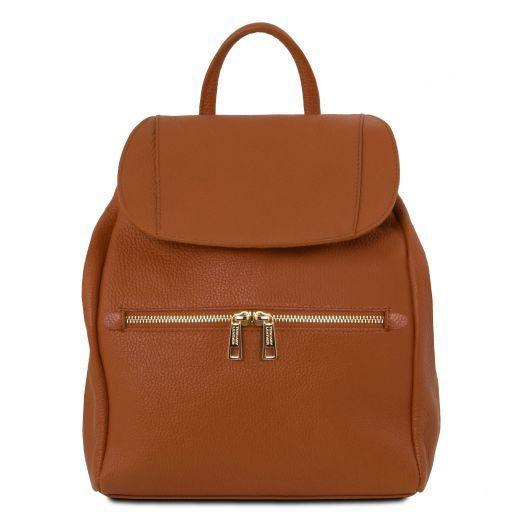 Tuscany Leather Soft Leather Backpack For Women (TL141697) Backpack Tuscany Leather Cognac