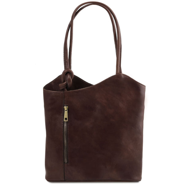 Tuscany Leather Patty Leather Convertible Bag/Backpack Ladies Shoulder Bag Tuscany Leather Dark Brown