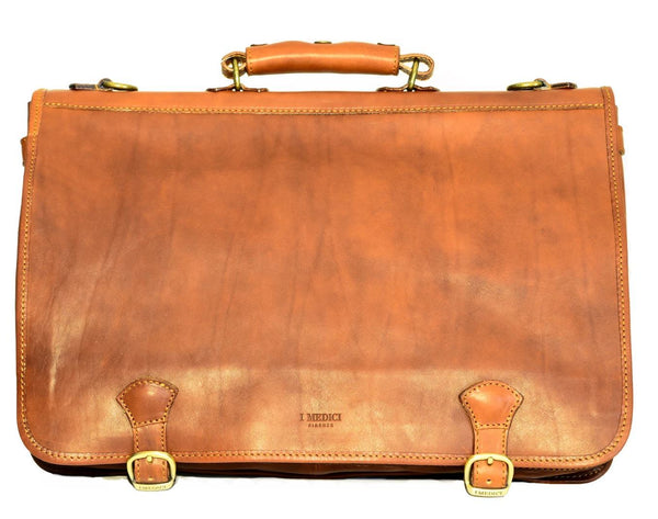 "I Medici Italian ""Cartellone"" 17"" Leather Laptop Bag Briefcase I Medici Italian Brown"