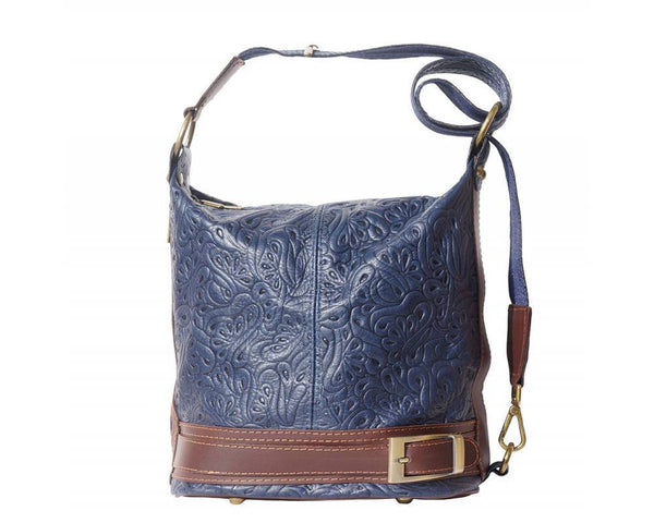 Made In Tuscany 'Caterina S' Leather Backpack Backpack Made in Tuscany Dark Blue Brown