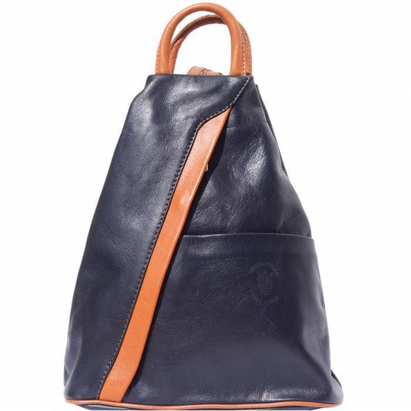 'Vanna' Contrast Colour Italian Leather Backpack Backpack Made in Tuscany Dark Blue/Tan