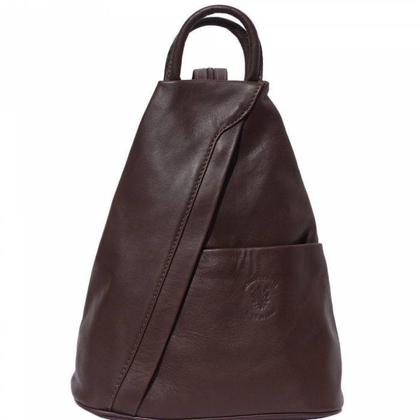'Vanna' Contrast Colour Italian Leather Backpack Backpack Made in Tuscany Dark Brown