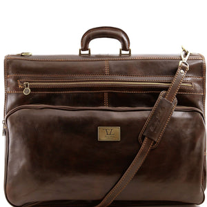 Tuscany Leather 'Papeete' Italian Leather Garment/Suit Carrier Suit Carrier Tuscany Leather Dark Brown