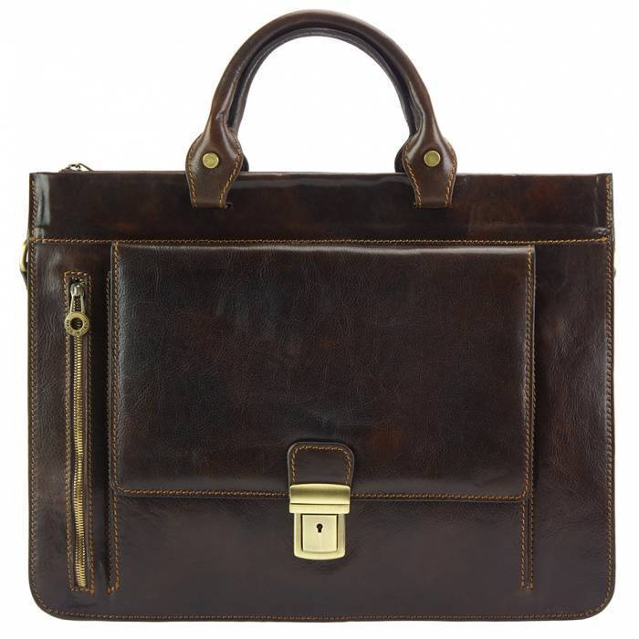 Made In Tuscany 'Donato' Leather Briefcase Laptop Briefcase Made in Tuscany Dark Brown