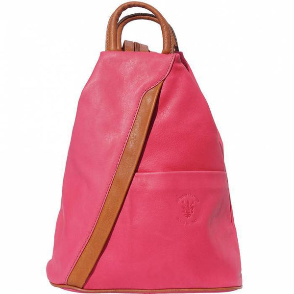'Vanna' Contrast Colour Italian Leather Backpack Backpack Made in Tuscany Fuchsia/Tan