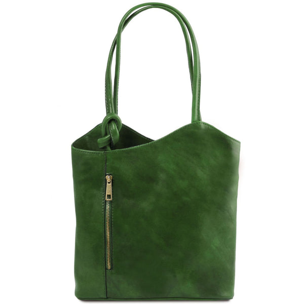 Tuscany Leather Patty Leather Convertible Bag/Backpack Ladies Shoulder Bag Tuscany Leather Green