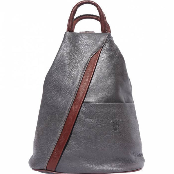 'Vanna' Contrast Colour Italian Leather Backpack Backpack Made in Tuscany Grey/Brown