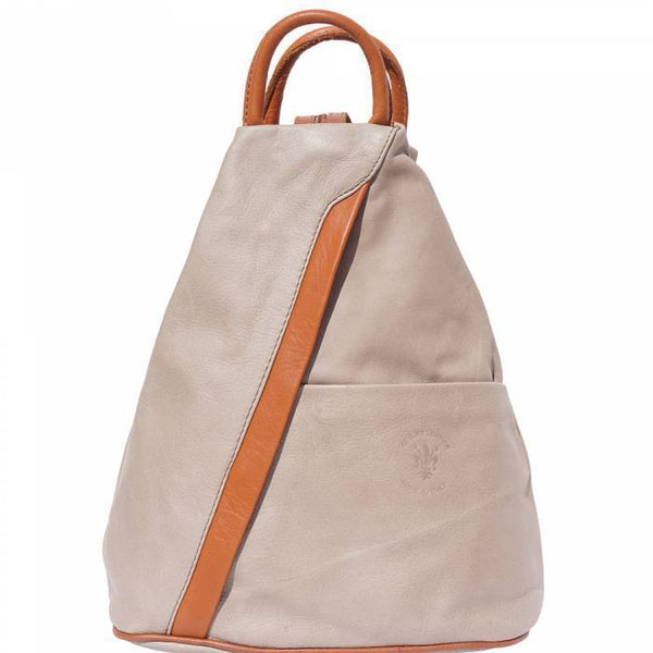 'Vanna' Contrast Colour Italian Leather Backpack Backpack Made in Tuscany Light Taupe/Tan