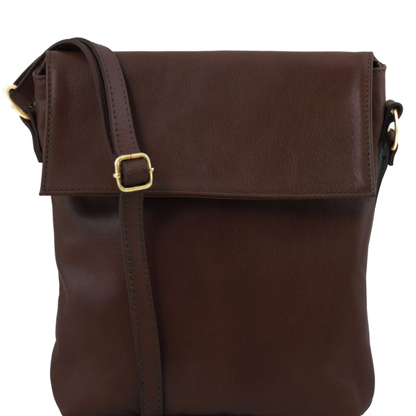 Tuscany Leather Classic 'Morgan' Men's Leather Messenger Crossover Bag Messenger Bag Tuscany Leather Dark Brown