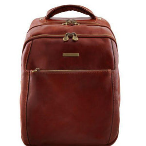 Tuscany Leather 'Phuket' 3 Compartments Leather Laptop Backpack Backpack Tuscany Leather Brown
